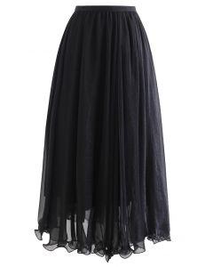 シャイニーセミシアーフレアスカート ブラック