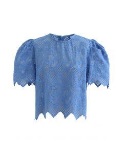 スカラップ刺繍オーガンジートップス ブルー