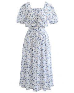 花柄トップス×スカートセット ホワイト