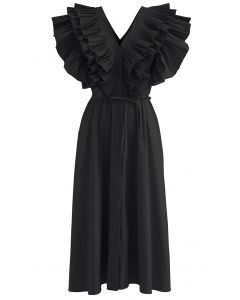 Pleated Ruffle Buttoned V-Neck Self-Tie Maxi Dress in Black