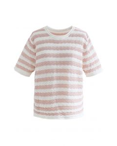Contrasted Stripe Embossed Knit Top in Peach