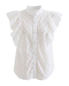 ドット刺繍ラッフル袖トップス ホワイト