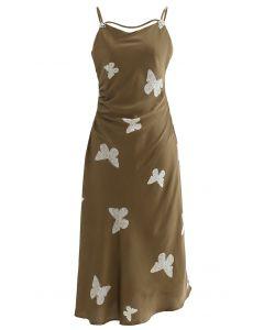 蝶々プリントサテンキャミワンピース オリーブ