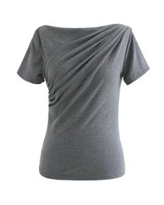 フロントギャザーTシャツ グレー