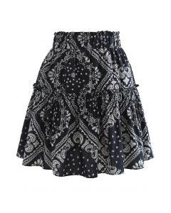 ペイズリーフリルミニスカート ブラック