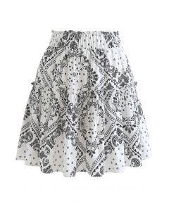 ペイズリーフリルミニスカート ホワイト