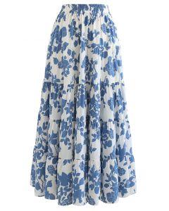 花柄ラッフルマキシスカート ブルー
