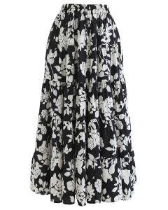 花柄ラッフルマキシスカート ブラック