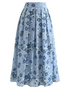 フラワープリントタックフレアスカート ブルー