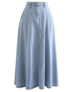 サイドポケットデニムスカート ライトブルー