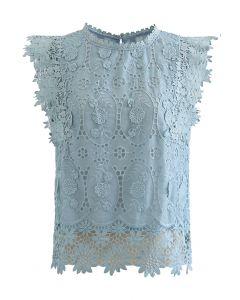 カットワーク刺繍ノースリーブトップス ブルー