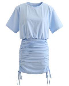 肩パット入りトップス×スカートセット ブルー