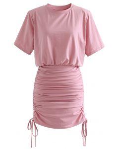 肩パット入りトップス×スカートセット ピンク