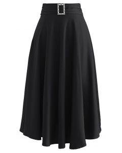 ベルト付きサテンフレアスカート ブラック
