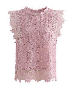 カットワーク刺繍ノースリーブトップス ピンク