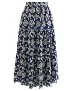 花柄刺繍スカラップスカート ネイビー