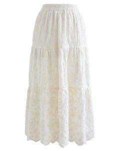 花柄刺繍スカラップスカート アイボリー