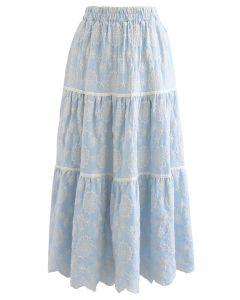 花柄刺繍スカラップスカート ライトブルー