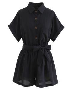 ウエストマークシャツ×ショートパンツセット ブラック