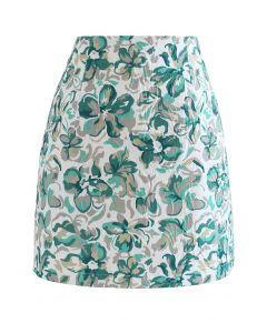 エンボス花柄台形スカート グリーン