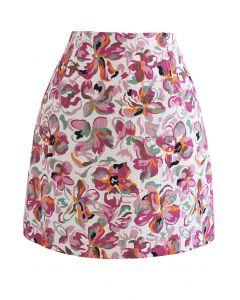 エンボス花柄台形スカート ホットピンク