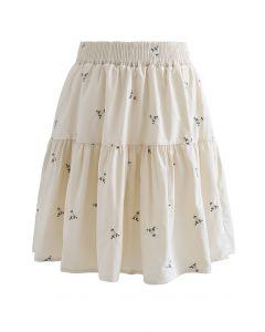 花柄刺繍ラッフルミニスカート アイボリー