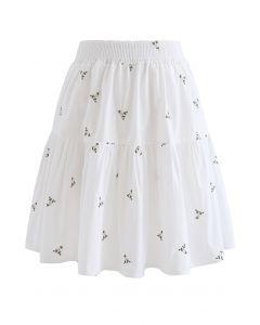 花柄刺繍ラッフルミニスカート ホワイト
