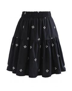 花柄刺繍ラッフルミニスカート ブラック