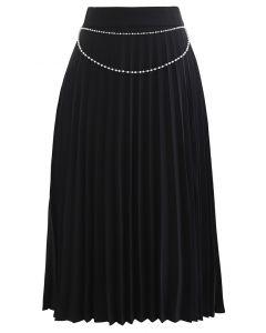 Draped Chain Pleated Midi Skirt in Black