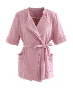 ウエストマークフリンジジャケット ピンク