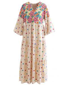 花柄刺繍フレアスリーブマキシワンピース