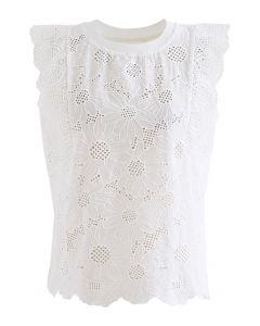 スカラップ刺繍アイレットノースリトップス ホワイト