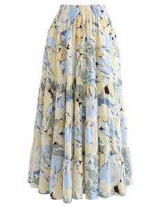 花柄シフォンマキシスカート ブルー
