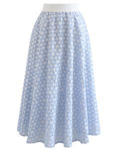 デイジー刺繍スカート ライトブルー