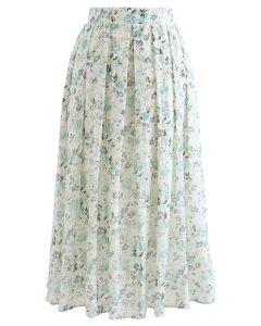 フラワープリント刺繍プリーツスカート ミント