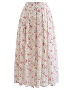 フラワープリント刺繍プリーツスカート ピンク