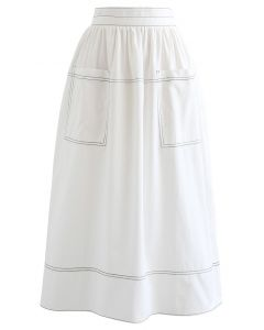 フロントポケットバイカラースカート ホワイト