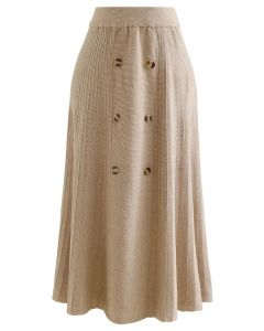 Button Front A-Line Knit Midi Skirt in Light Tan