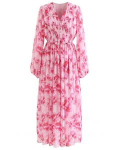 水彩風花柄シャーリングマキシワンピース ホットピンク