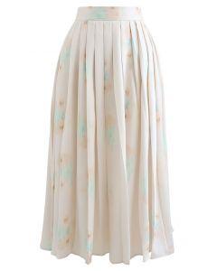 フラワープリントプリーツスカート ブラッシュピンク