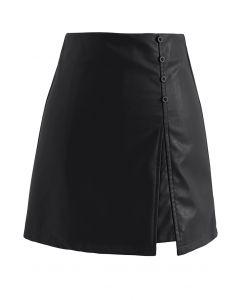 イレヘムフェイクレザー台形スカート ブラック