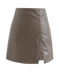 イレヘムフェイクレザー台形スカート ブラウン