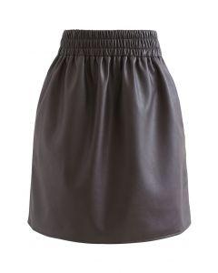 ウエストゴムフェイクレザー台形スカート ブラウン