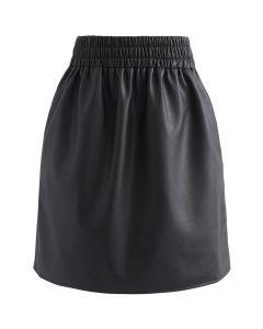 ウエストゴムフェイクレザー台形スカート ブラック
