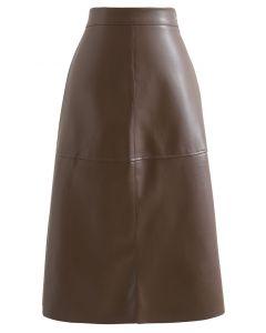 カットオフフェイクレザースカート ブラウン