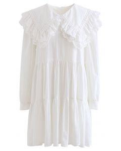 ビッグフリルカラー刺繍ミニワンピース ホワイト