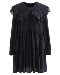 ビッグフリルカラー刺繍ミニワンピース ブラック