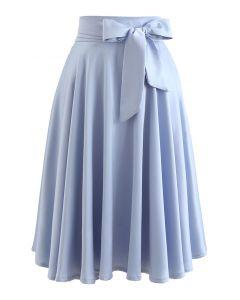 ウエストリボンフレアスカート ブルー