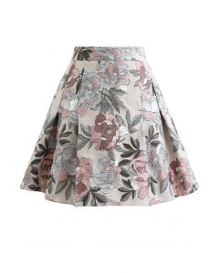 花柄ジャカードフレアミニスカート サンド