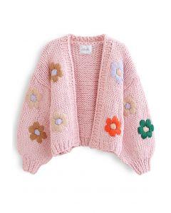 フラワー刺繍ハンド編みニットカーディガン ピンク